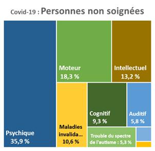 Pour les personnes n'ayant pu trouver de soignant pour des soins liés à la Covid-19, 35,9 % ont un handicap psychique, 18,3 % ont un handicap moteur, 13,2 % ont un handicap intellectuel, 10,6 % ont une maladie invalidante